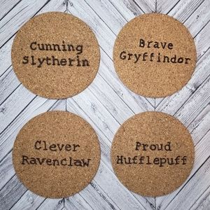 HARRY POTTER houses absorbent cork coasters *NEW*